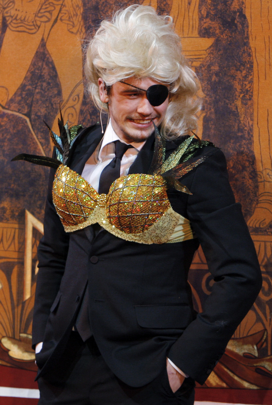 Actor James Franco wears the traditional bra and wig during ceremonies to honor Franco as Hasty Pudding Theatricals' 2009 Man of the Year at Harvard University in Cambridg