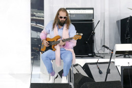 French singer Sebastien Tellier performs during the Chanel Haute Couture Spring/Summer 2014 fashion show by German designer Karl Lagerfeld in Paris