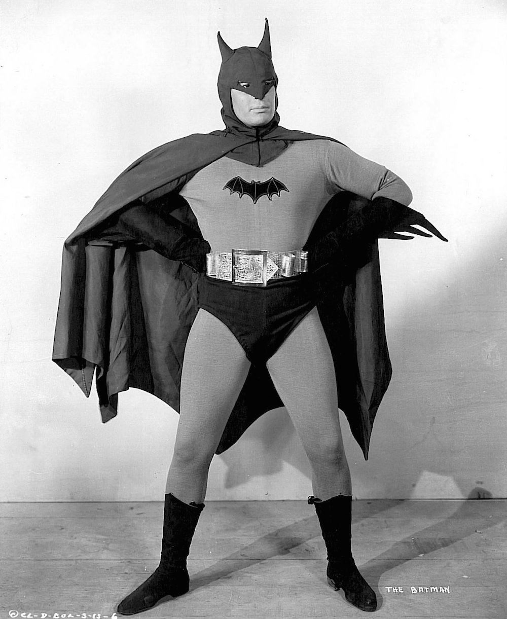 history of the Batsuit - Lewis Wilson was the first actor to play the caped crusader in the 1943