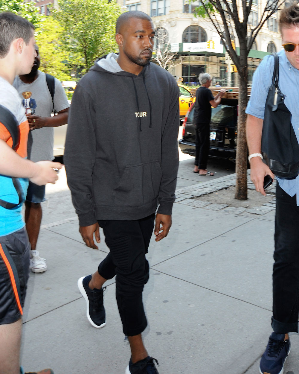 Kanye West greets fans while out and about in New York City