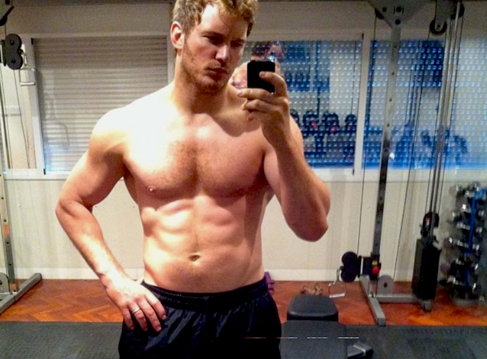 "Chris Pratt reveals torso and writes ""Six months no beer. #GOTG Kinda douchey to post this but my brother made me."