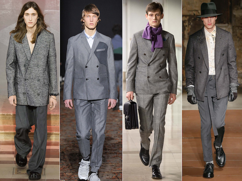 Double breasted grey suit - Lanvin, Kris Van Assche, Hermes, Cerruti 1881 Paris