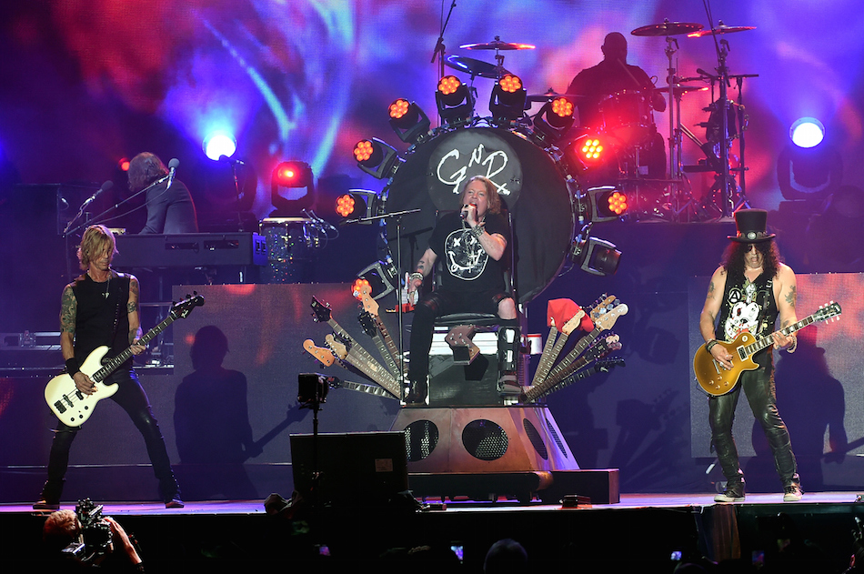 INDIO, CA - APRIL 16: (L-R) Duff McKagan, Axl Rose and Slash of Guns N' Roses perform onstage during day 2 of the 2016 Coachella Valley Music & Arts Festival Weekend 1 at the Empire Polo Club on April 16, 2016 in Indio, California. (Photo by Kevin Winter/Getty Images for Coachella)