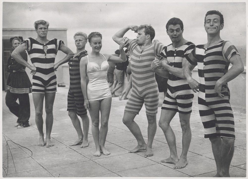 Men in Victorian and Edwardian swimsuits, ca. 1940s