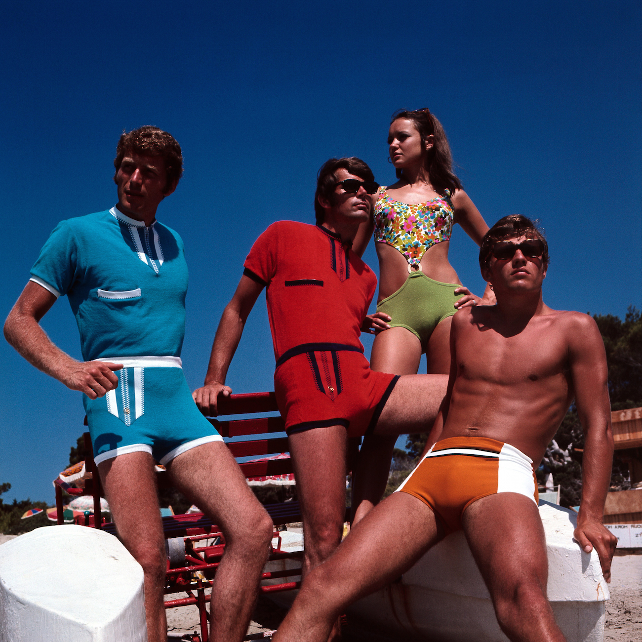 Retro Male and female swimsuit models, Group, Couples, Swimwear, 1970s